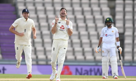 Jimmy Anderson enjoys the moment of taking his 600th Test wicket, the Pakistan captain Azhar Ali.