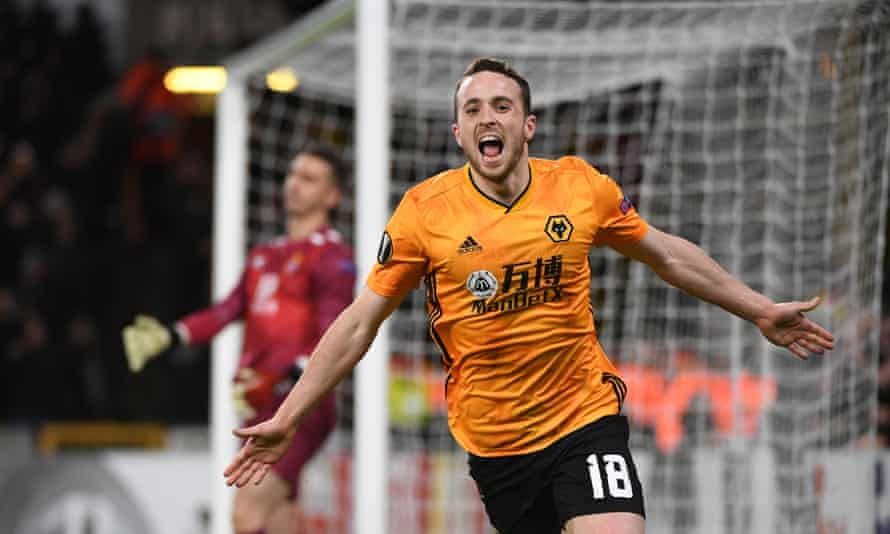 Diogo Jota scores to complete his hat-trick.