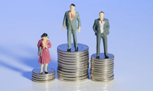 Old-fashioned attitudes … mini plastic men and a woman standing on piles of money.