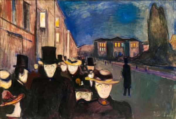 Edvard Munch, Evening on Karl Johan Street, painting, 1892