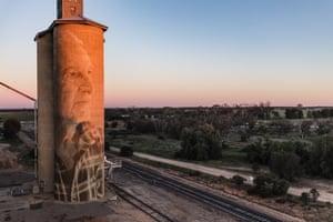 Melbourne artist Rone's mural on a silo at Lascelles, Victoria, Australia.