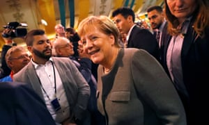 German Chancellor Angela Merkel arrives to support CDU colleague and Hesse state prime minister Volker Bouffier at a rally earlier this month.
