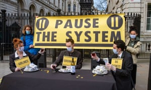 Protesters in Westminster last March demanding the UK government follow WHO guidelines in dealing with Covid-19