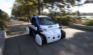 An autonomous self-driving vehicle is tested in a pedestrianised zone, during a media event in Milton Keynes, north of London, on 11 October, 2016.