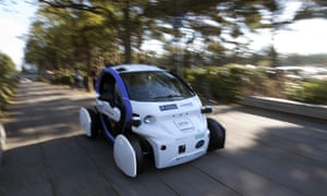 An autonomous self-driving vehicle being tested in Milton Keynes