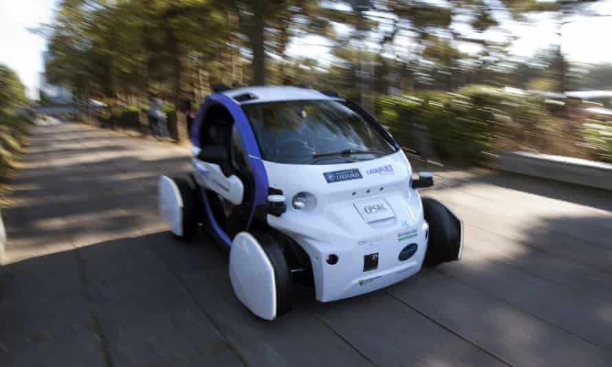 An autonomous self-driving vehicle during a media event in Milton Keynes