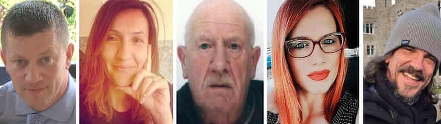 The victims of the Westminster Bridge terror attack: PC Keith Palmer, Aysha Frade, Leslie Rhodes, Andreea Cristea and Kurt Cochran.