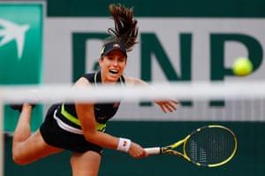 Konta in action during her quarter-final against Sloane Stephens.