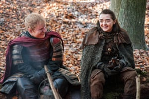 Campfire pals … Ed Sheeran with Maisie Williams as Arya Stark.