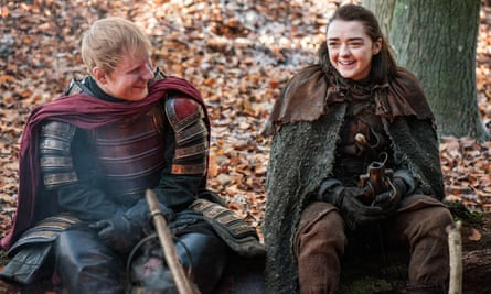 Travelling soldier-boy Ed Sheeran with Arya Stark.