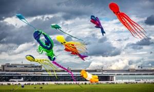 Kites flying over the Tempelhofer Feld.
