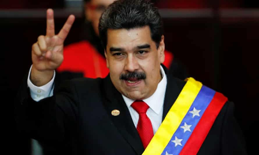 Venezuelan President Nicolás Maduro after receiving the presidential sash during the ceremonial swearing-in for his second presidential term on 10 January.