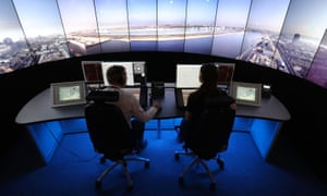 Remote air traffic control preparing for takeoff at London City