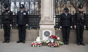 Police officers at the unveiling of the in memorial for PC Keith Palmer, who was murdered in 2017.