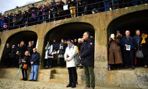 The film director Danny Boyle (right) joins in a two-minute silence in Folkestone
