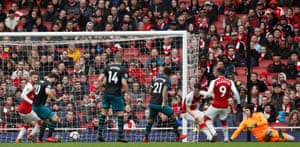 Cech stranded as Austin scores the second equaliser.