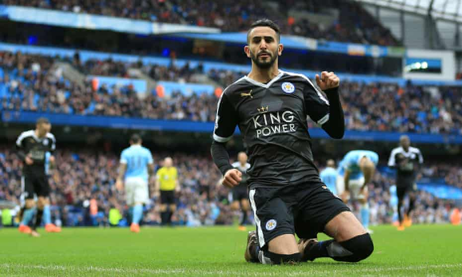 Riyad Mahrez celebrates after scoring for Leicester at Manchester City in February 2016 en route to the club's title win.