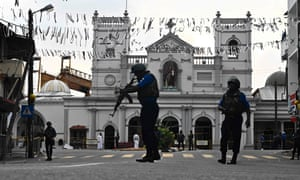 Security personnel outside St Anthony's Shrine in  Colombo, Sri Lanka, following the terrorist attacks there this week.
