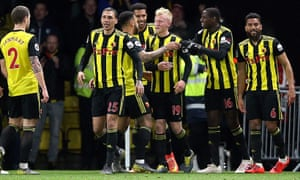 Will Hughes is congratulated on restoring Watford's lead