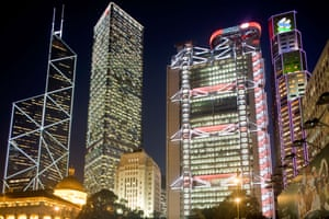 IM Pei's Bank of China building, left, in Hong Kong; Norman Foster's HSBC Tower is on the right.