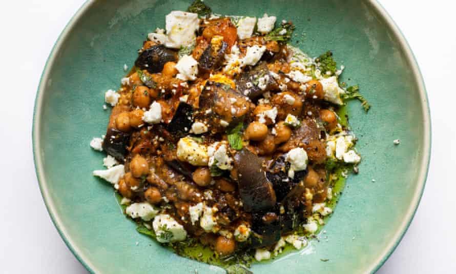 Chic peas: aubergine with feta, cashews and ras el hanout.