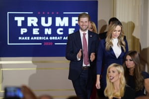 Eric Trump and his wife Lara Trump arrive to hear Donald Trump speak in the East Room of the White House.