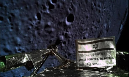 A photograph of the lunar surface taken by the camera on board the Israeli moon probe Beresheet, which crash-landed on 11 April.