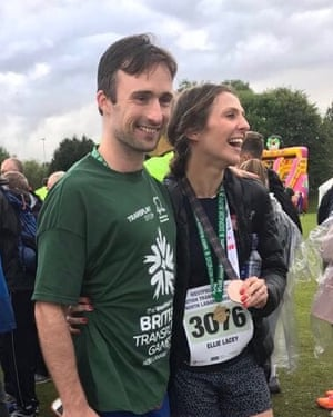 Ellie with her husband after the 3km road race