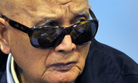 The former Khmer Rouge leader known as 'Brother No 2', Nuon Chea, in court in Phnom Penh, 2011.
