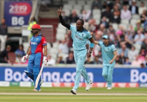 Jofra Archer celebrates the wicket of Noor Ali for a duck on his second ball.
