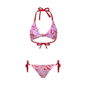 Pink and red bikini top, £49, and bottoms, £49, tuccaswim.co.uk.