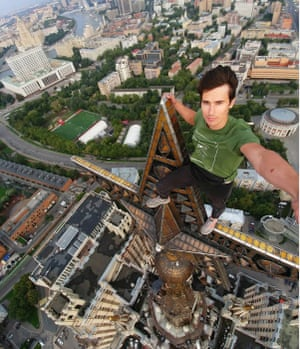 The art of the selfie took a turn for the worse around 2013 when daredevils started going to extremes to get a buzz from their photos. Sadly this trend led to hundreds of deaths around the world. Here, Kirill Oreshkin stands on top of the Kudrinskaya Square Building, Moscow, Russia