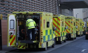 A patient arrives in an ambulance outside the Royal London Hospital in east London.