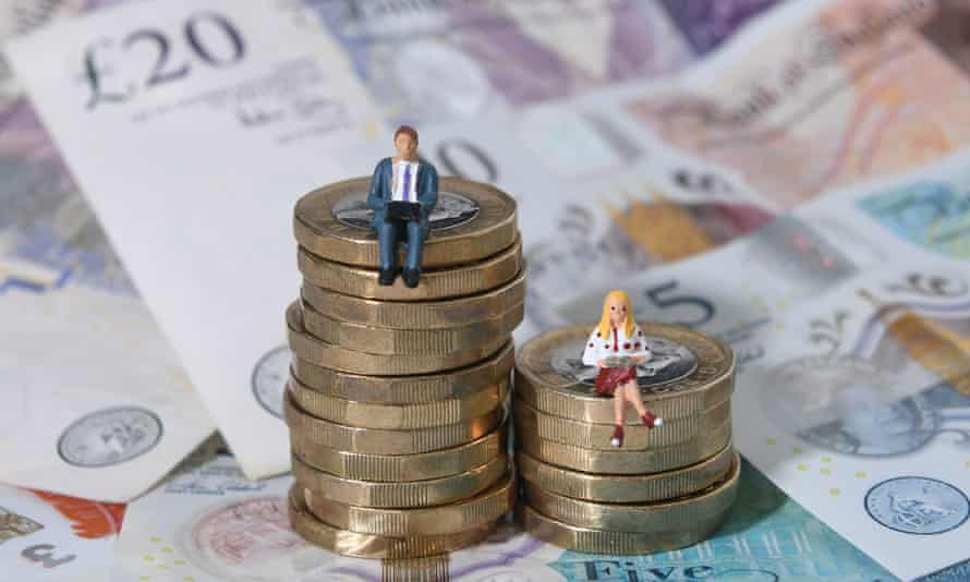 two figurines of a woman and a man sitting atop an uneven pile of pound coins