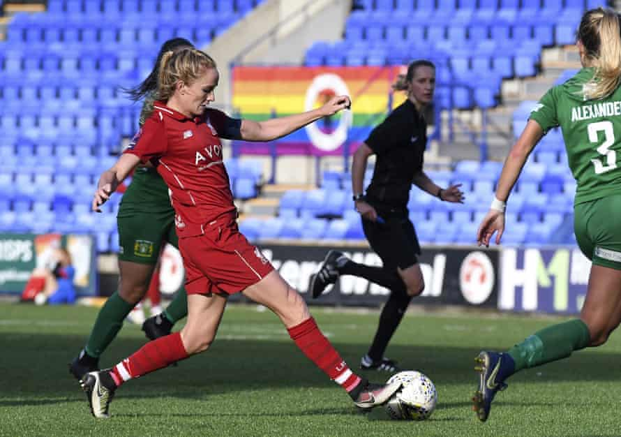 Sophie Bradley-Auckland in action for Liverpool at Prenton Park.