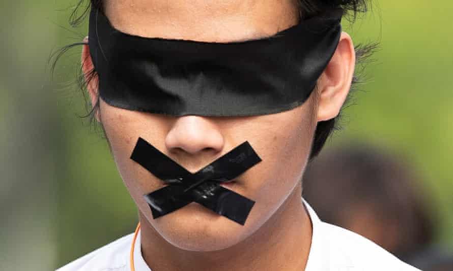 A demonstrator in Yangon, Myanmar, on Friday.