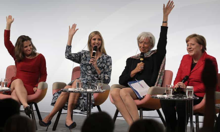(From left) Canada's foreign minister, Chrystia Freeland, Ivanka Trump, the then IMF director, Christine Lagarde, and the German chancellor, Angela Merkel, on a panel in Berlin