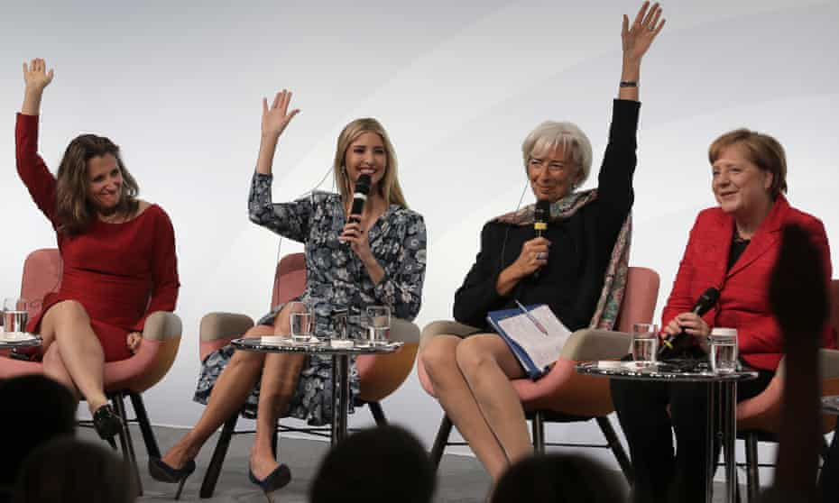 Canadian foreign minister Chrystia Freeland, Ivanka Trump, International Monetary Fund director Christine Lagarde and German chancellor Angela Merkel are seen during a panel in Berlin