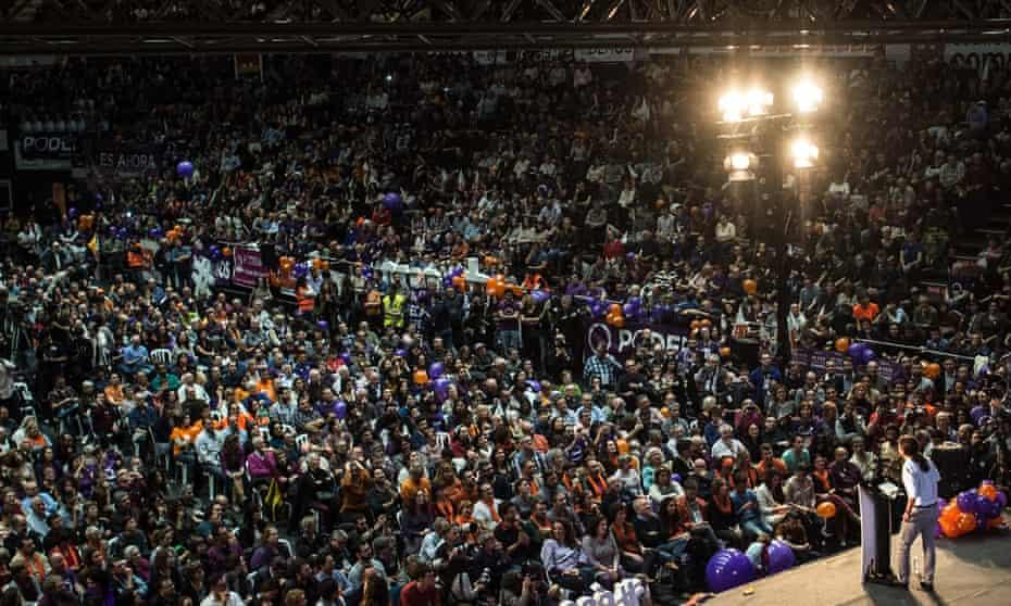 Former political science professor Pablo Iglesias addresses a Podemos rally