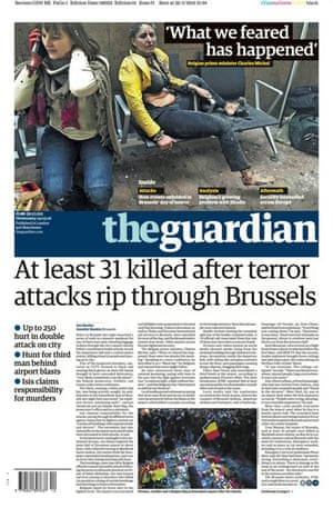 The front page of The Guardian