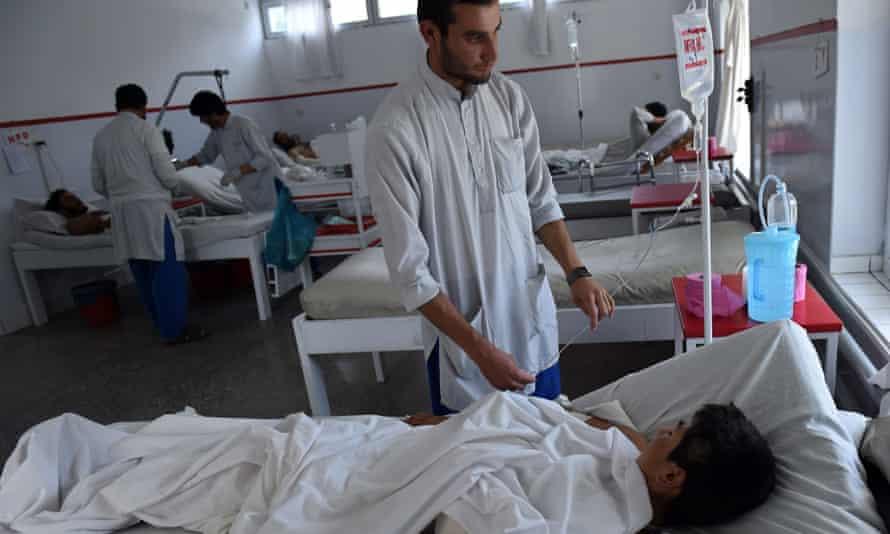 An airstrike survivor in Kabul