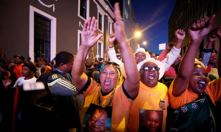 Pro-Zuma supporters celebrate after the vote of no confidence against the president was defeated.