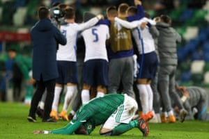 Northern Ireland's Kyle Lafferty reacts after their defeat.