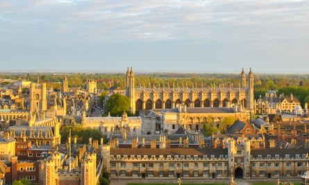 Several Cambridge colleges are seen from the viewpoint at St John's College tower
