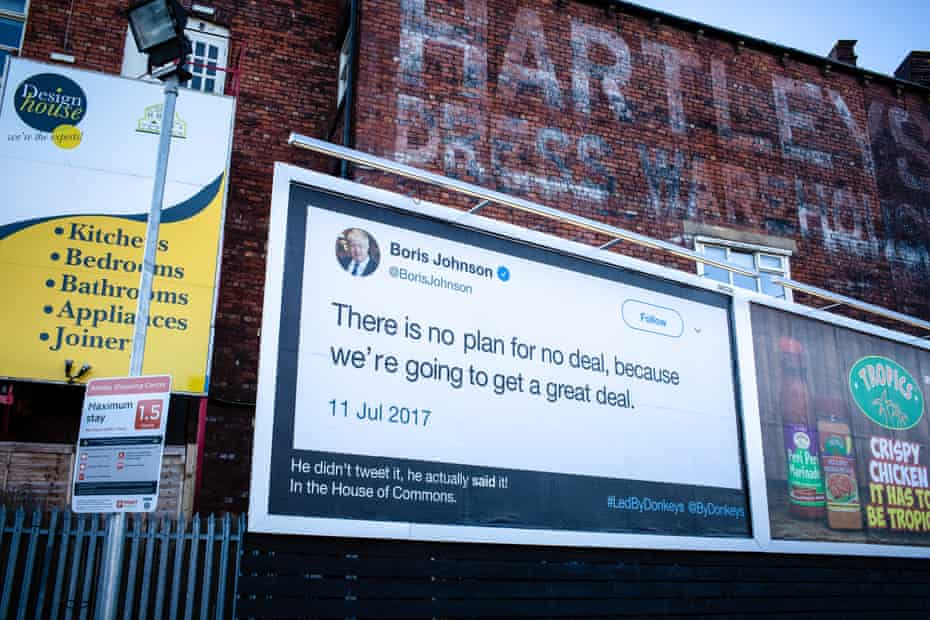 A poster that went up in Leeds in January with a Boris Johnson tweet.