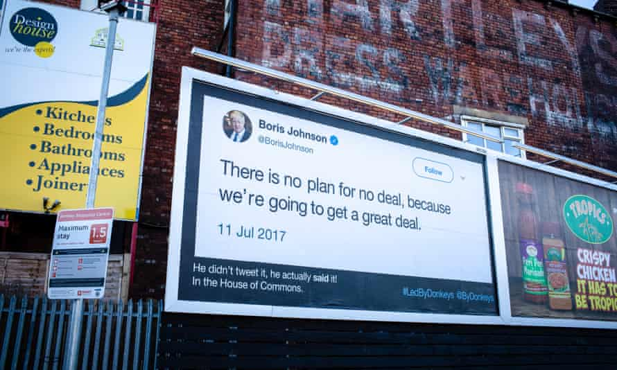 Boris Johnson's 'great deal' quote on a billboard in Leeds.