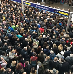 Winter weather Feb 23rd 2017Handout photo taken with permission from the Twitter feed of Ryan Temple (@TempleRyan) of commuters waiting at King's Cross in London. PRESS ASSOCIATION Photo. Issue date: Thursday February 23, 2017. See PA story WEATHER Storm. Photo credit should read: Ryan Temple/PA Wire NOTE TO EDITORS: This handout photo may only be used in for editorial reporting purposes for the contemporaneous illustration of events, things or the people in the image or facts mentioned in the caption. Reuse of the picture may require further permission from the copyright holder.