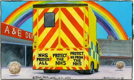 Steve Bell on people attending A&E during Covid-19 crisis — cartoon
