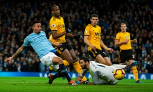 Gabriel Jesus scores the opening goal against Wolves as Manchester City reduced the gap behind Premier League leaders Liverpool to four points.