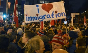 Cologne locals take part in a pro-immigration rally in 2015.
